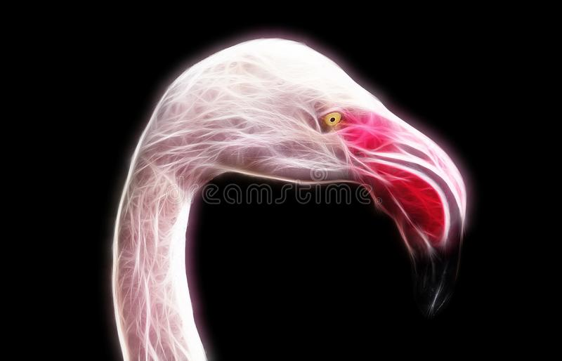 Fractal image of a wild pink flamingo with yellow eyes stock illustration