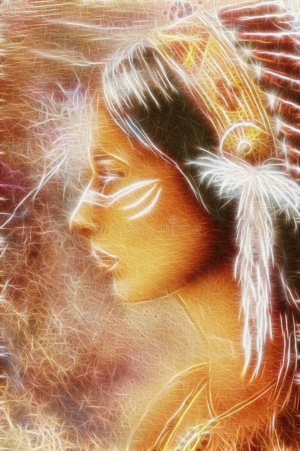 Fractal indiano da visão do espírito da mulher ilustração do vetor
