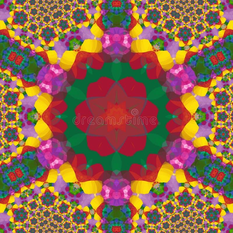 Fractal Kaleidoscop κεραμίδι ουράνιων τόξων με τα αραβικά κίνητρα στοκ φωτογραφία