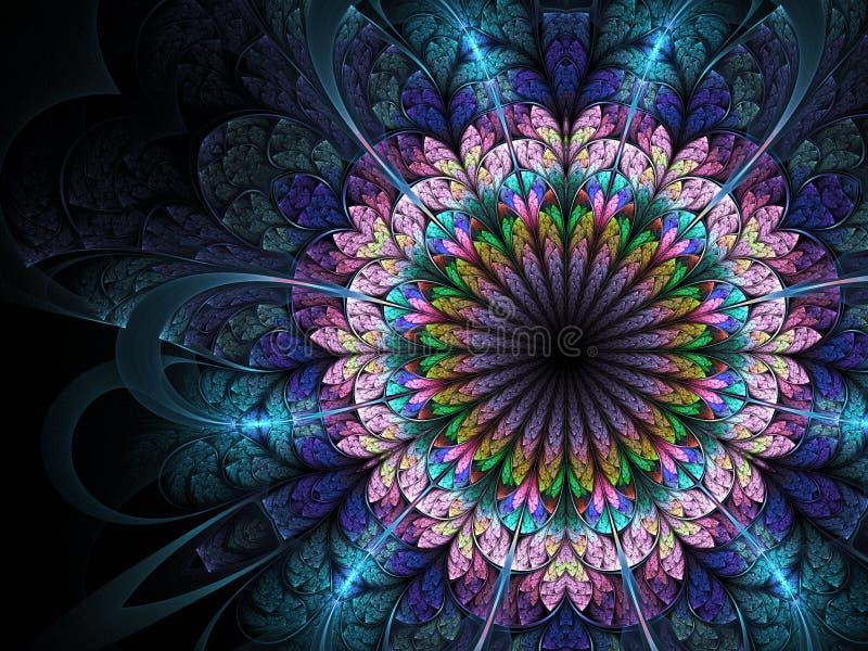 fractal kolorowy kwiat ilustracja wektor