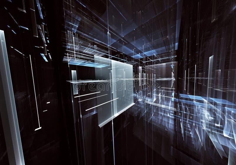 Fractal kunst - computer 3D beeld, technologische achtergrond vector illustratie