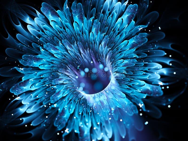 Fractal mágico azul do wormhole ilustração stock