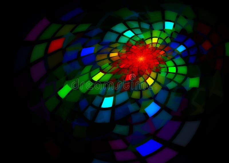 Fractal met grote kleurrijke gebogen tegels vector illustratie