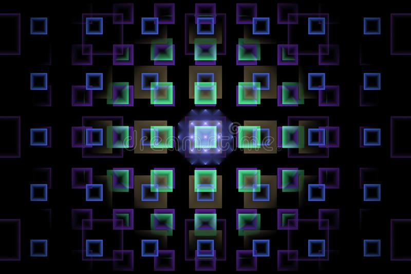 Fractal mit blauen und purpurroten Neonquadraten stockfotos