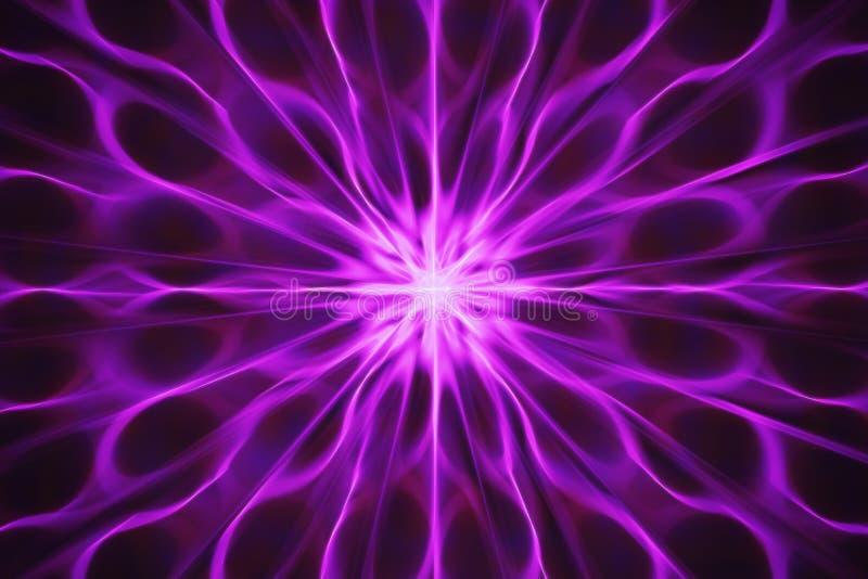 Fractal mit den abstrakten, gewellten Strahlen, die von der Mitte im Rosa ausstrahlen stock abbildung