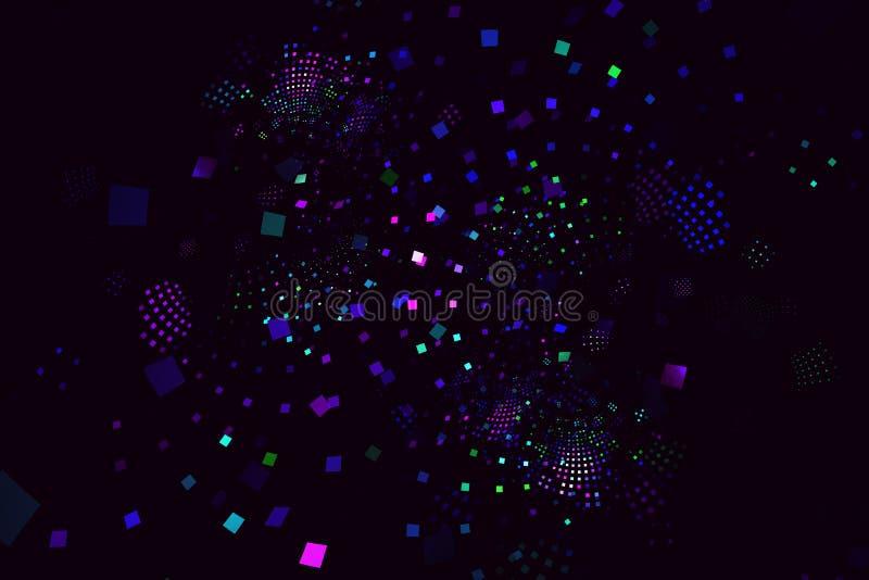 Fractal mit den Konfetti ähnlichen, abstrakten Quadraten auf einem dunklen Hintergrund lizenzfreies stockbild