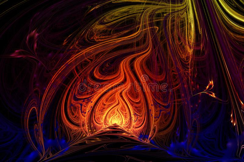 Abstract background illustration of fractal multicolored waves stock illustration