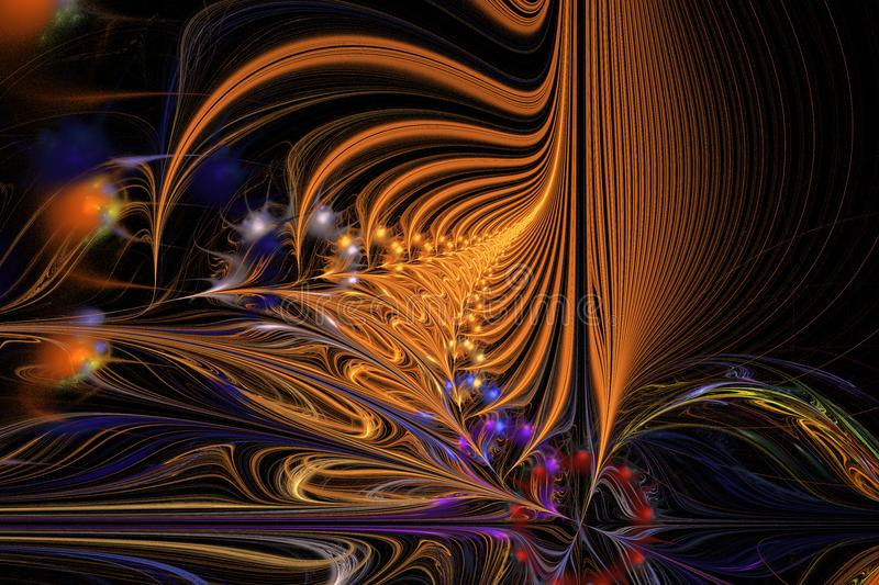 Abstract background illustration of fractal multicolored waves stock photo