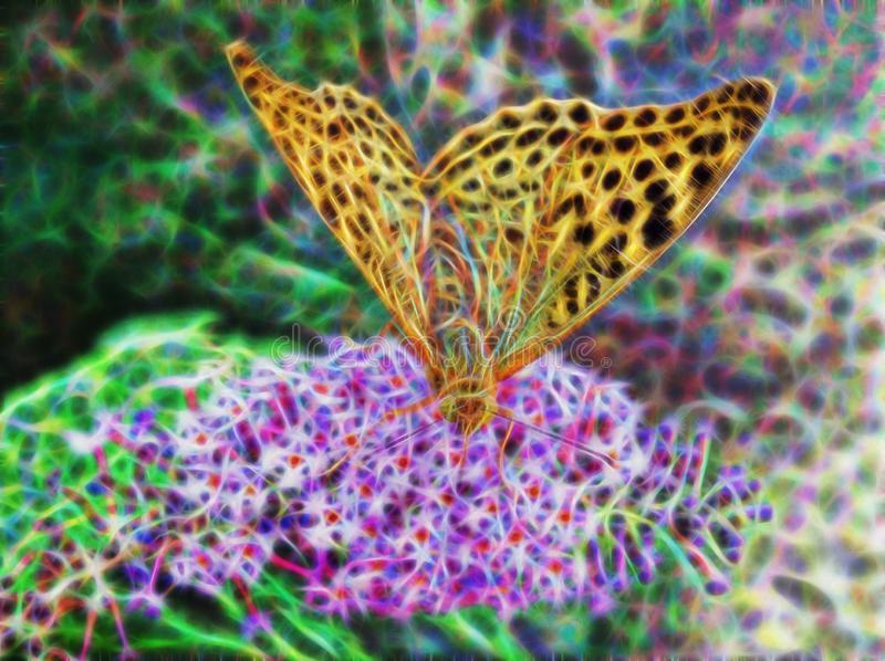 Fractal picture of big beautiful butterfly stock photo