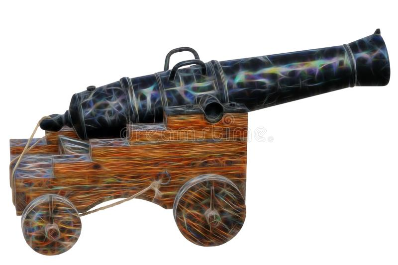 Fractal picture of Old medieval artillery canon on white stock photos