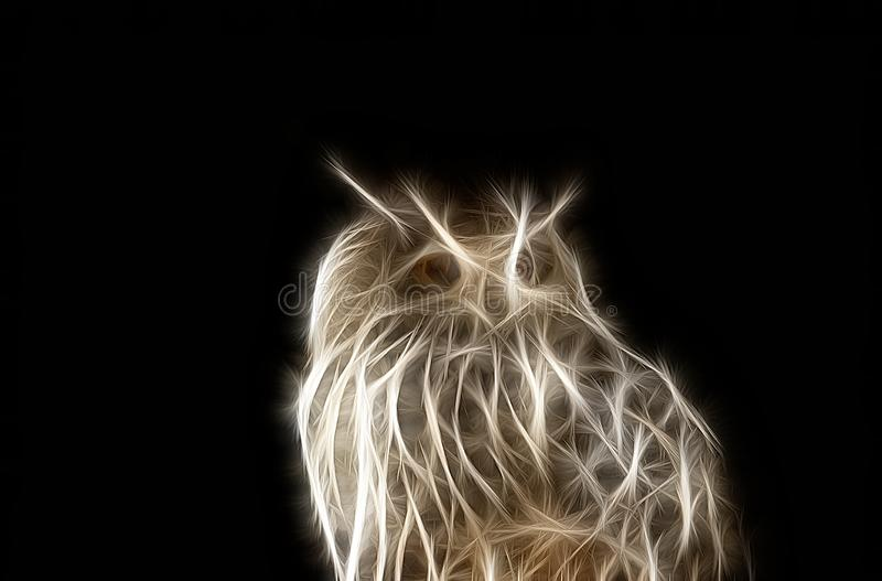 Fractal portret dzika nocy sowa obrazy royalty free
