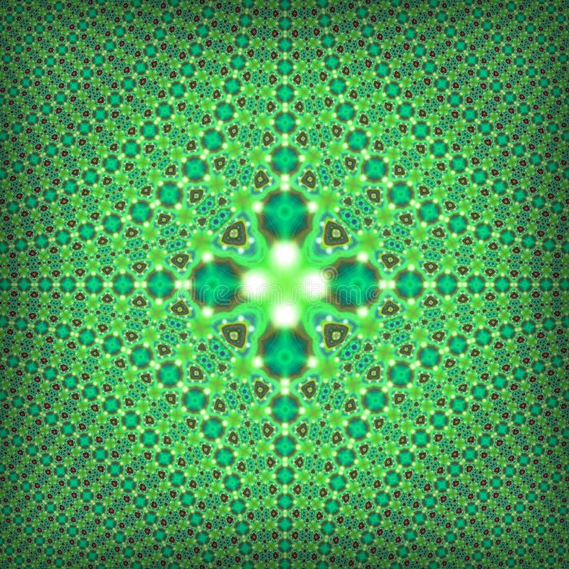 Fractal psychedelisch groen vierkant patroon stock afbeelding
