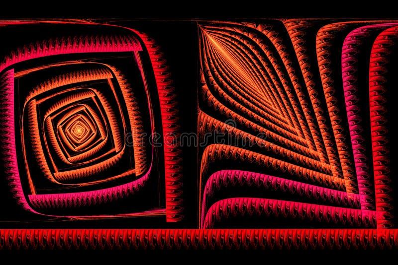 Fractal quadrado abstrato vermelho e alaranjado no preto ilustração do vetor