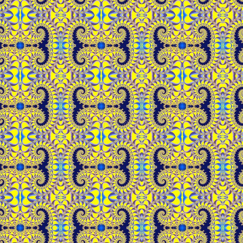 Fractal seamless pattern with a graceful spirals vector illustration
