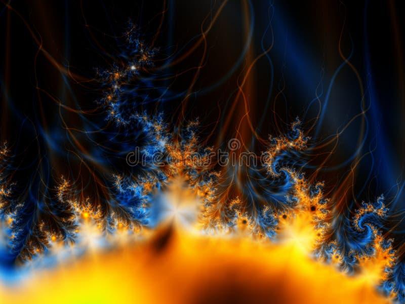 Fractal Sun en espacio exterior stock de ilustración