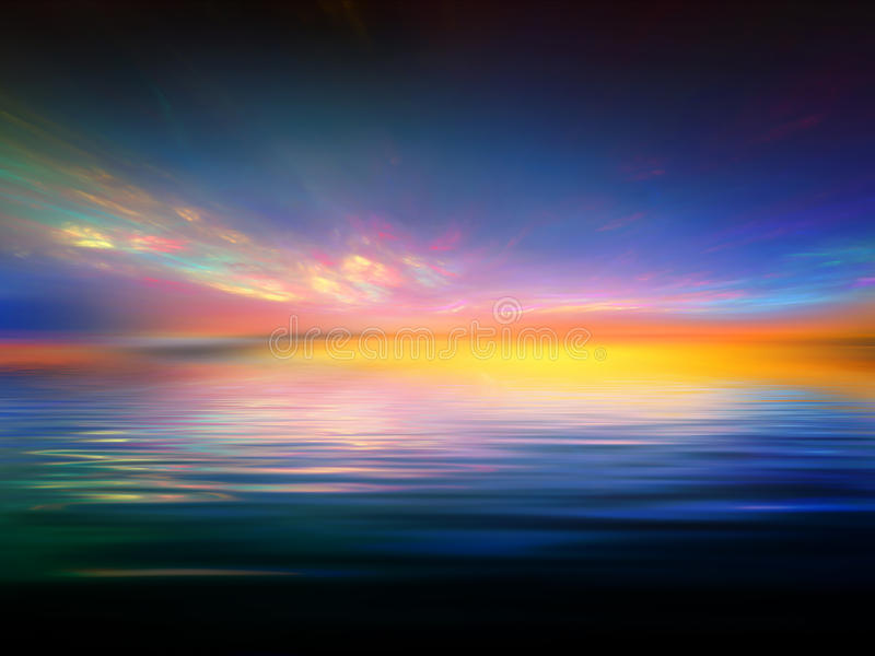 Fractal Sunset stock illustration
