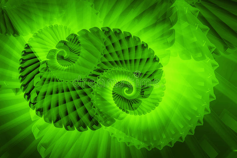 Fractal swirls. Abstract background fractal swirls in green