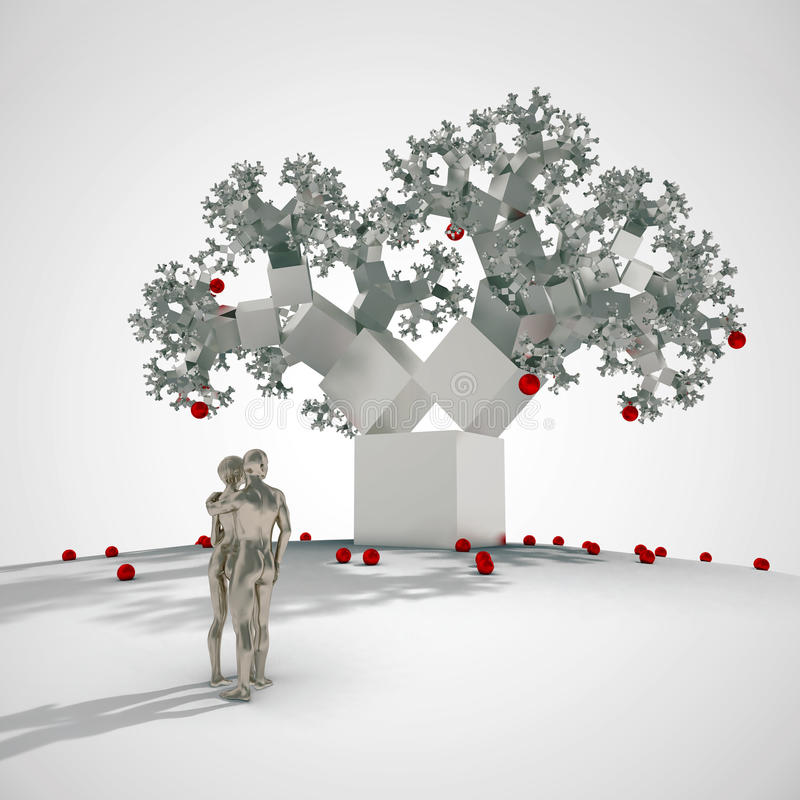 Fractal tree in digital eden. Thinking Adam and Eve before fractal apple tree royalty free illustration