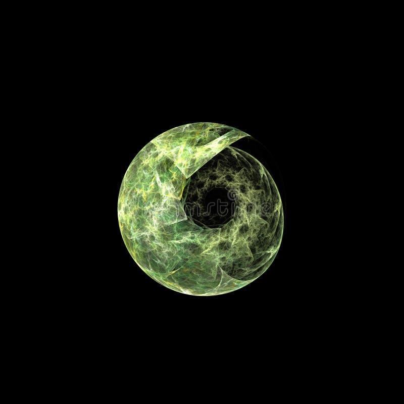 Fractal verde de la cáscara en negro ilustración del vector