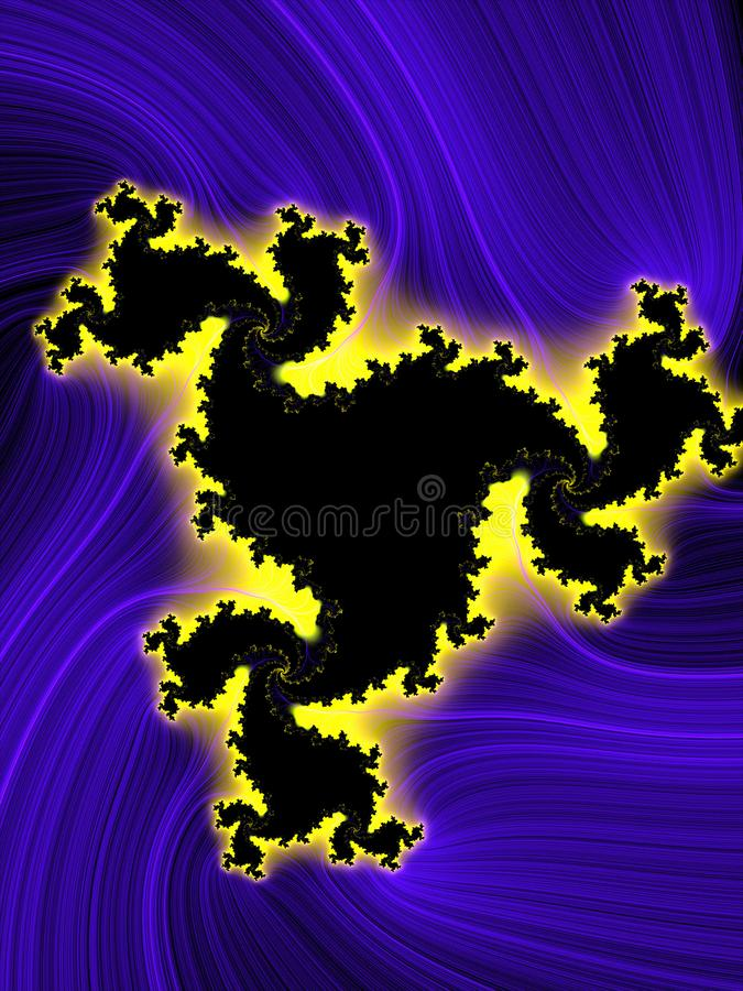 Fractal. Violet yellow phosphorescent bright flowery background, texture. Blue purple yellow phosphorescent bright fractal lights, fractal geometries, lights royalty free illustration
