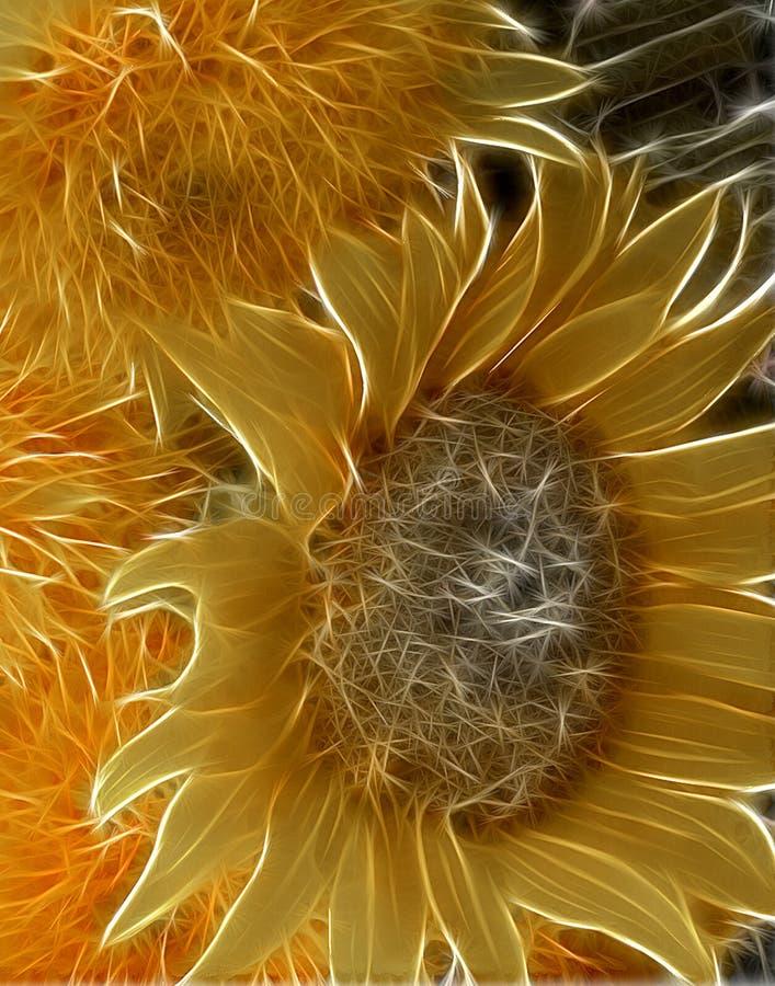 Fractal-Wiedergabe von Sonnenblumen in einer modernen Gartenillustration lizenzfreie abbildung