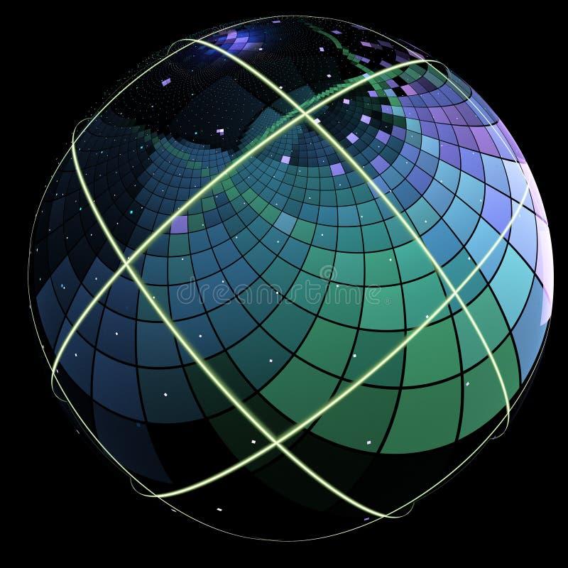Fractal z a jak sfera z swój powierzchnią zakrywającą w kwadratach ilustracji