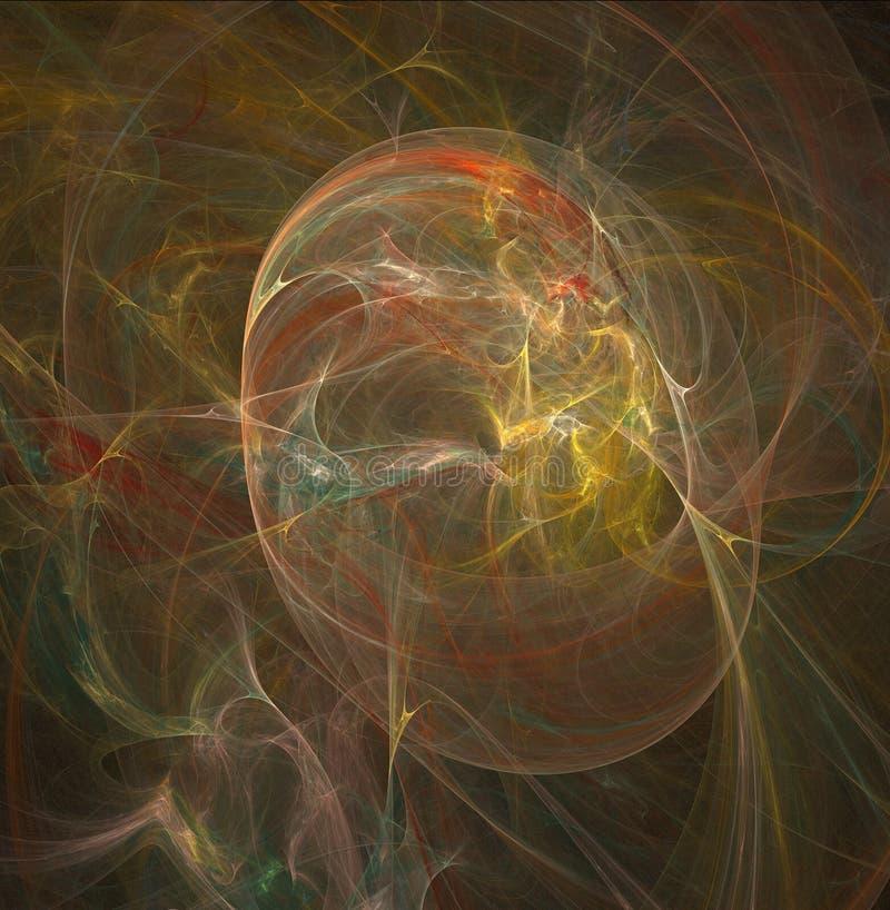 Fractalabstraktion Ein Glühen Mittel um welche Spiralen und Wellen lizenzfreie abbildung