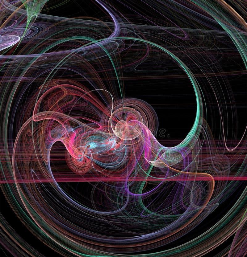Fractalabstraktion Ein Glühen Mittel um welche Spiralen und Wellen stock abbildung