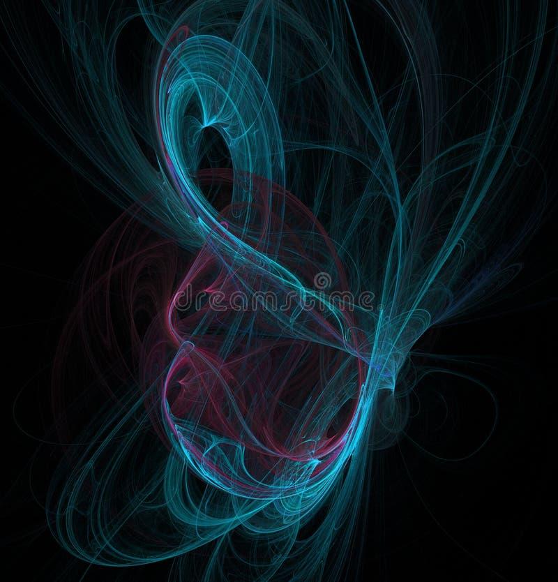 Fractalabstraktion Ein Glühen Mittel um welche Spiralen und Wellen Blauer und hochroter, schwarzer Hintergrund lizenzfreie abbildung