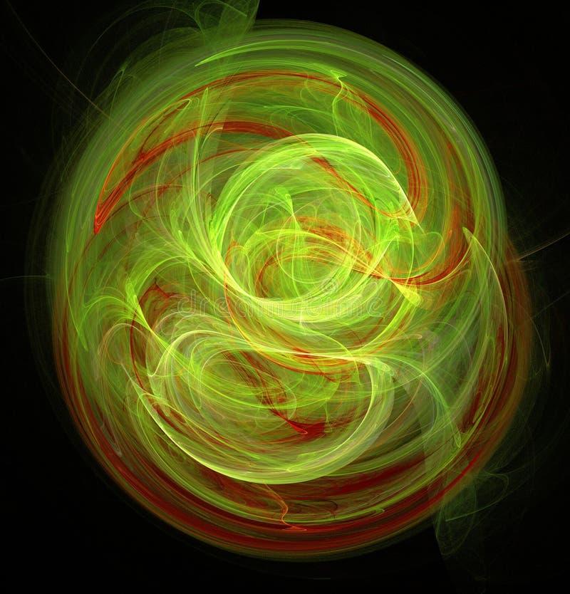 Fractalabstraktion Ein Glühen Mittel um welche Spiralen und Wellen Grüner und roter, schwarzer Hintergrund stock abbildung