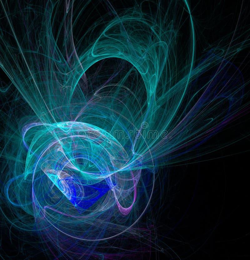 Fractalabstraktion Eine glühende gewundene Zahl, Smaragd- und blau, ein Symbol von Energie, Spannung, Energie, schwarzer Hintergr lizenzfreie abbildung