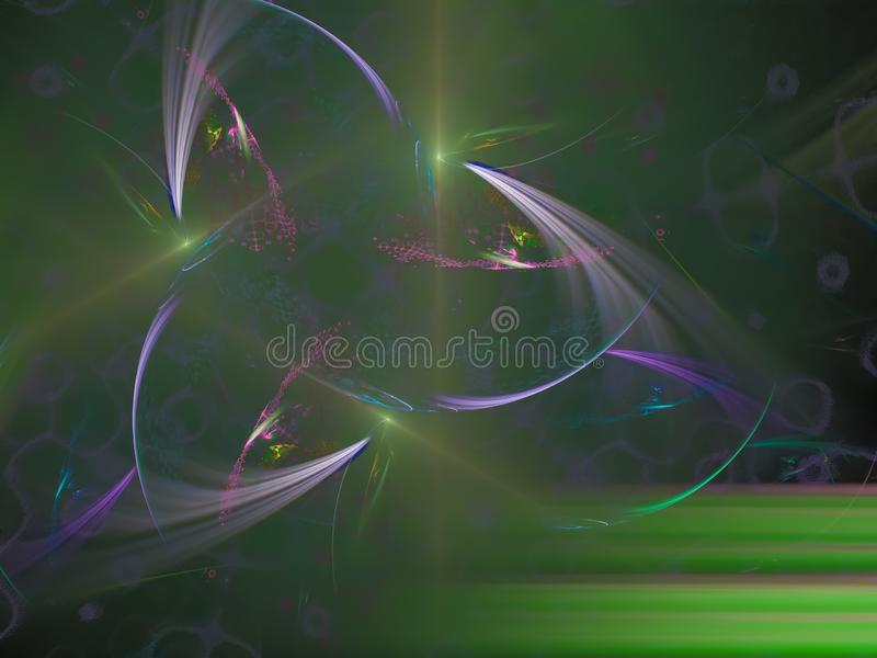Fractalart, zukünftige kreative Idee der fantastischen modernen Energie-Karte der Verzierungstapete, die Geheimnishintergrund, De vektor abbildung