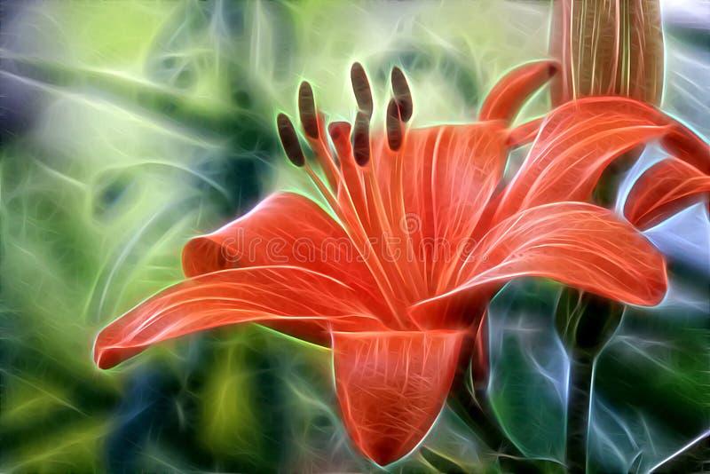 Fractalbild av en blomma - lilja royaltyfri illustrationer