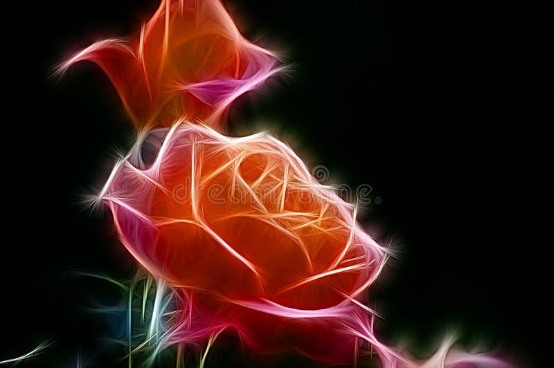 Fractalbild av en buske av orange rosor stock illustrationer