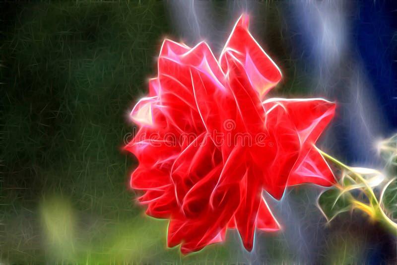 Fractalbild av en röd rosa blomma vektor illustrationer
