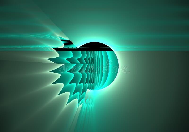 Fractaldatoren frambragte illustrationen av tekniskt felneonexplosionen vektor illustrationer