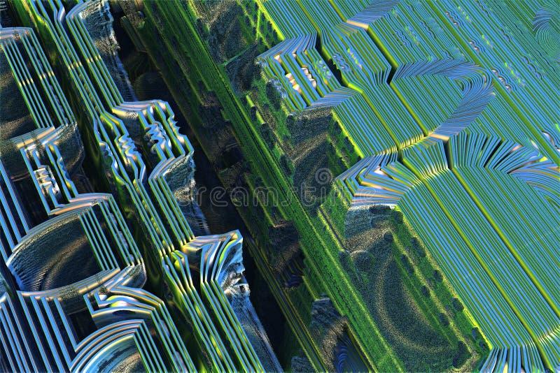 Fractale étrangère bleue illustration de vecteur