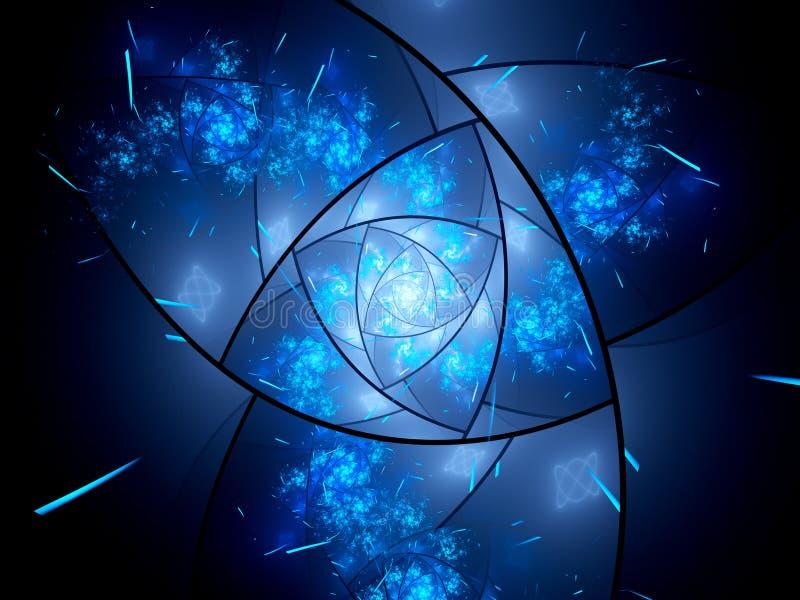 Fractale magique rougeoyante en verre souillé dans l'espace illustration stock
