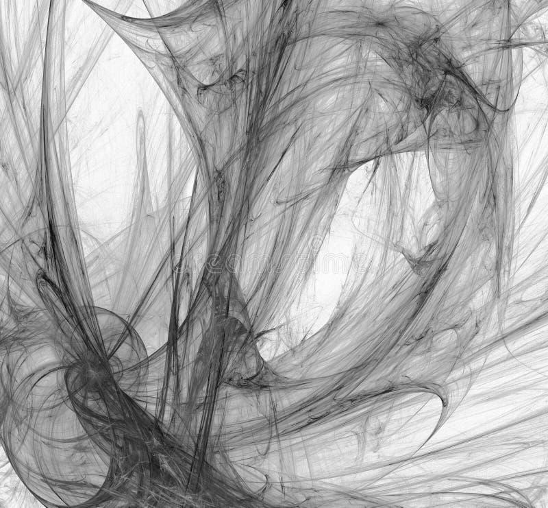 Fractale noire et blanche abstraite sur le fond blanc Texture de fractale d'imagination Pirouette rouge-foncé de Digitals art ren illustration stock