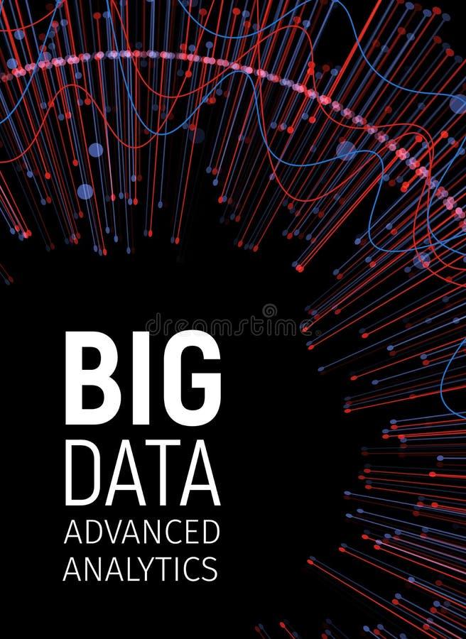 Fractales visuales de la energía de los datos grandes Red de la tecnología infographic Diseño del analytics de la información Ilu ilustración del vector