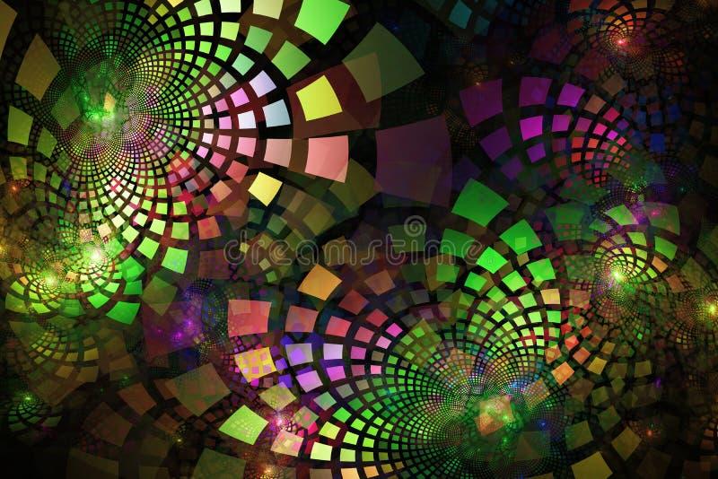 Fractalfliesen in den Neonfarben, die heraus in Gruppen und in Schichten kurven lizenzfreies stockbild
