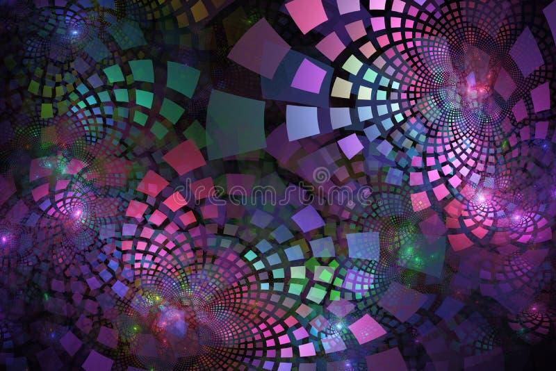 Fractalfliesen in den Pastellfarben, die heraus in Gruppen kurven lizenzfreie stockfotografie