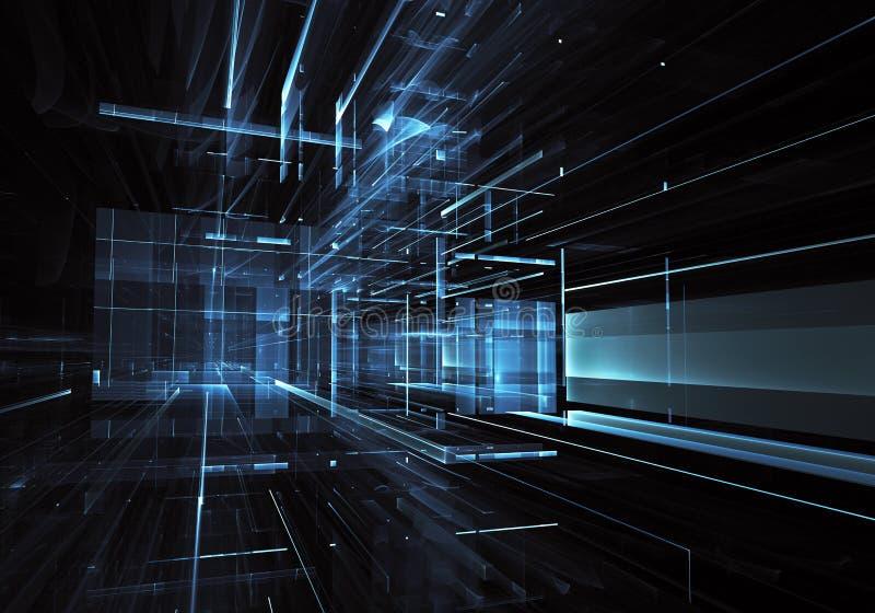 Fractalkunst - Bild des Computers 3D, technologischer Hintergrund vektor abbildung