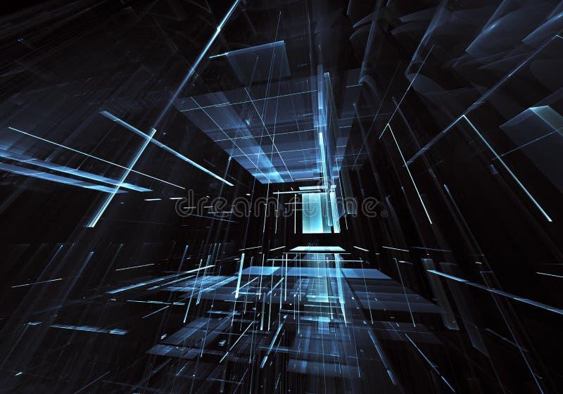 Fractalkunst - Bild des Computers 3D, technologischer Hintergrund lizenzfreie abbildung