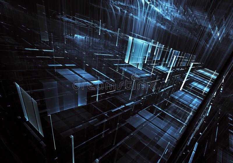 Fractalkunst - Bild des Computers 3D, technologischer Hintergrund stock abbildung