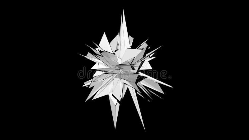 fractalobjekt för tolkning 3d i mörkt utrymme, abstrakt modern bakgrund, frambragd dator royaltyfri illustrationer