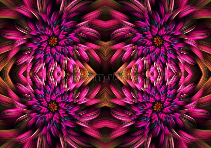 Fractals 3d gerados por computador magentas artísticos de uma arte finala bonita exótica do fundo do teste padrão de flores ilustração stock