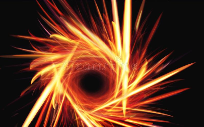 Fractals. Fiery fractal in the black vector illustration