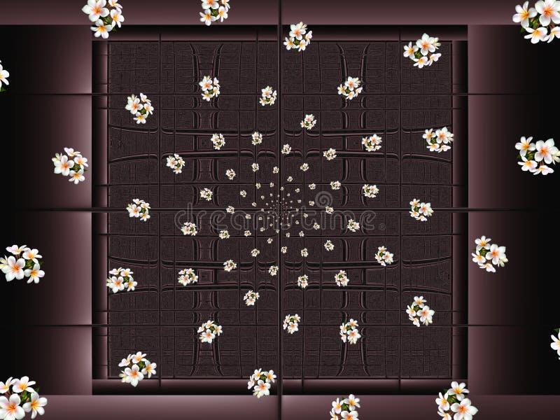 Fractalspiral av blommor på bakgrunden av stiliserade wood fönster stock illustrationer