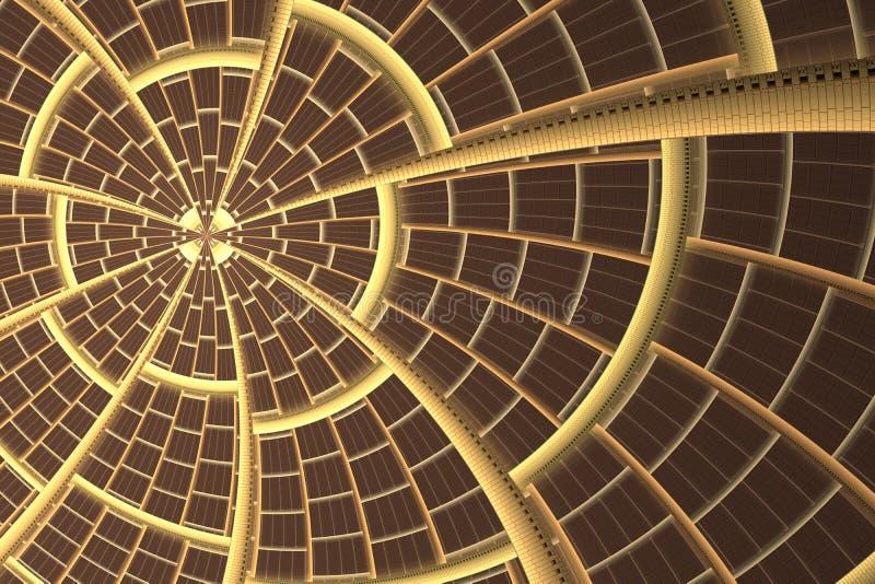 Fractalstjärna- eller solfantasi Abstrakt sol- modell Innovation teknologikonst vektor illustrationer